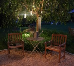 Add landscape lighting to your garden for a beautiful and charming effect.